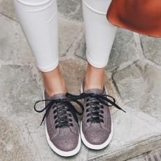 รองเท้าผ้าใบส้นหนา แฟชั่นเกาหลีผู้หญิงแบบหนังผูกเชือกใหม่ นำเข้า ไซส์34ถึง43 สีม่วง - พรีออเดอร์RB2428 ราคา1950บาท