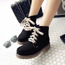 รองเท้าผ้าใบหุ้มข้อ แฟชั่นเกาหลีหนังกลับสไตล์บูทสั้นใหม่ นำเข้า ไซส์34ถึง43 สีดำ - พรีออเดอร์RB2429 ราคา2000บาท