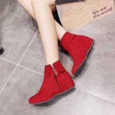 รองเท้าบูทสั้นหุ้มข้อ แฟชั่นเกาหลีหนังกลับสไตล์ใหม่ นำเข้า ไซส์33ถึง43 สีแดง - พรีออเดอร์RB2430 ราคา1950บาท