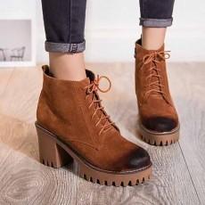 รองเท้าผ้าใบหุ้มข้อ แฟชั่นเกาหลีหนังกลับบูทสั้นมาร์ติน นำเข้า ไซส์33ถึง43 สีน้ำตาล - พรีออเดอร์RB2431 ราคา2000บาท