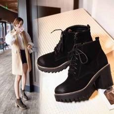 รองเท้าผ้าใบหุ้มข้อ แฟชั่นเกาหลีหนังกลับบูทสั้นมาร์ติน นำเข้า ไซส์33ถึง43 สีดำ - พรีออเดอร์RB2431 ราคา2000บาท