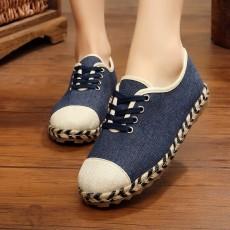 รองเท้าผ้าใบเพื่อสุขภาพ แฟชั่นเกาหลีผ้าลินินนุ่มสบาย นำเข้า ไซส์35ถึง40 สีน้ำเงิน - พรีออเดอร์RB2433 ราคา1650บาท