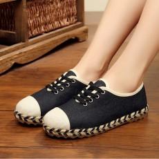 รองเท้าผ้าใบเพื่อสุขภาพ แฟชั่นเกาหลีผ้าลินินนุ่มสบาย นำเข้า ไซส์35ถึง40 สีดำ - พรีออเดอร์RB2433 ราคา1650บาท