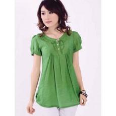 เสื้อเชิ้ต แฟชั่นเกาหลีแบบใหม่แขนสั้นผ้าไอซ์คอตตอน สีเขียว ไซส์L - พร้อมส่งSJ1159 ลดราคาถูก