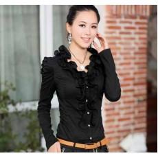 เสื้อเชิ้ต แฟชั่นเกาหลีระบายหรูแขนยาวขายดีใส่ทำงาน นำเข้า ไซส์M สีดำ - พร้อมส่งSJ1190 ราคา1100บาท [หมดค่ะ]