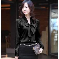เสื้อเชิ้ต ทำงานผู้หญิงสวยแฟชั่นเกาหลี Bow Blouse นำเข้า สีดำ ไซส์SถึงXXXL - พรีออเดอร์SJ1264 ราคา900บาท