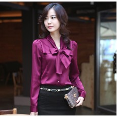 เสื้อเชิ้ต ทำงานผู้หญิงสวยแฟชั่นเกาหลี Bow Blouse นำเข้า สีม่วง ไซส์SถึงXXXL - พรีออเดอร์SJ1264 ราคา900บาท
