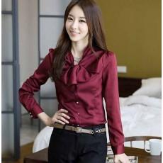 เสื้อเชิ้ต ทำงานผู้หญิงสวยแฟชั่นเกาหลี Bow Blouse นำเข้า สีแดง ไซส์SถึงXXXL - พรีออเดอร์SJ1264 ราคา900บาท