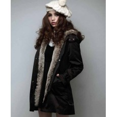 เสื้อโค้ท แฟชั่นเกาหลีกันหนาวตัวยาวมีฮู้ดแต่งเฟอร์สวยหรู นำเข้า ไซส์S-XXXL สีดำ - พรีออเดอร์SJ1325 ราคา2100บาท