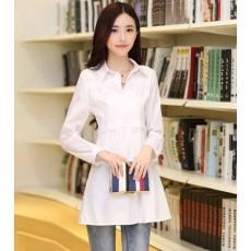 เสื้อเชิ้ต แฟชั่นเกาหลีสวยตัวยาวหลวมใหม่ใส่สบาย นำเข้า ไซส์Mถึง3XL พรีออเดอร์SJ1328 สีขาว ราคา1100บาท