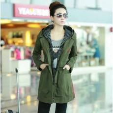 เสื้อโค้ทยาว แฟชั่นเกาหลีใหม่สวยวินเทจ นำเข้า ไซส์M-XL สีเขียว - พรีออเดอร์SJ1344 ราคา1890บาท [หมดค่ะ]