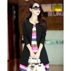 เสื้อสูท แฟชั่นเกาหลีตัวยาวคอกลมสวยเทรนด์หรู นำเข้า ไซส์SถึงXXL สีดำ - พรีออเดอร์SJ1347 ราคา1250บาท