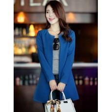 เสื้อสูท แฟชั่นเกาหลีตัวยาวคอกลมสวยเทรนด์หรู นำเข้า ไซส์XL สีน้ำเงิน - พร้อมส่งSJ1347 ราคา1150บาท