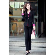 ชุดสูททำงาน แฟชั่นเกาหลีผู้หญิงกางเกงสวย3ชิ้นหรู นำเข้าไซส์Sถึง3XLสีดำ - พรีออเดอร์SJ1348 ราคา3000บาท