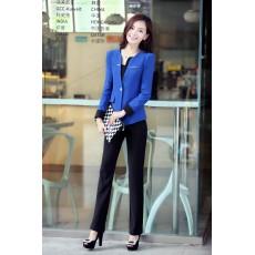 ชุดสูททำงาน แฟชั่นเกาหลีผู้หญิงกางเกงสวย3ชิ้นหรู นำเข้าไซส์Sถึง3XLสีน้ำเงิน - พรีออเดอร์SJ1348 ราคา3000บาท