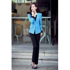 ชุดสูททำงาน แฟชั่นเกาหลีผู้หญิงกางเกงสวย3ชิ้นหรู นำเข้าไซส์Sถึง3XLสีฟ้า - พรีออเดอร์SJ1348 ราคา3000บาท
