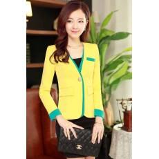 ชุดสูท แฟชั่นเกาหลีผู้หญิงสูทกระโปรงสวยใหม่ นำเข้า ไซส์SถึงXXL สีเหลือง - พรีออเดอร์SJ1349 ราคา2850บาท