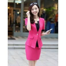 ชุดสูทผู้หญิง แฟชั่นเกาหลีสวยแขนสั้นรุ่นใหม่ นำเข้า ไซส์Sถึง5XL สีชมพู - พรีออเดอร์SJ1363 ราคา3000บาท