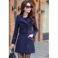 เสื้อโค้ท กันหนาวผ้าวูลหนาแฟชั่นเกาหลีตัวยาวดีไซน์แจ็คเก็ต นำเข้าไซส์Lสีน้ำเงิน - พร้อมส่งSJ1383 ราคา2390บาท