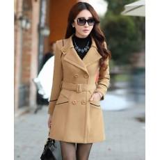 เสื้อโค้ท กันหนาวผ้าวูลหนาแฟชั่นเกาหลีตัวยาวดีไซน์แจ็คเก็ต นำเข้าไซส์Mถึง3XLสีน้ำตาล - พรีออเดอร์SJ1383 ราคา2390บาท