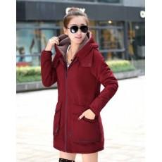 เสื้อโค้ทกันหนาว ดีไซน์แจ็คเก็ตมีฮู้ดตัวยาวแฟชั่นเกาหลี นำเข้าไซส์Mถึง3XL สีแดง - พรีออเดอร์SJ1385 ราคา2790บาท