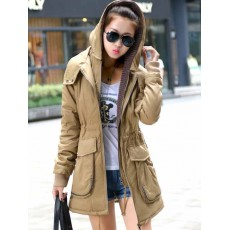 เสื้อโค้ทกันหนาว ดีไซน์แจ็คเก็ตมีฮู้ดตัวยาวแฟชั่นเกาหลี นำเข้าไซส์Mถึง3XL สีกากี - พรีออเดอร์SJ1385 ราคา2790บาท