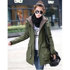เสื้อโค้ทกันหนาว ดีไซน์แจ็คเก็ตมีฮู้ดตัวยาวแฟชั่นเกาหลี นำเข้าไซส์Mถึง3XL สีเขียว - พรีออเดอร์SJ1385 ราคา2790บาท