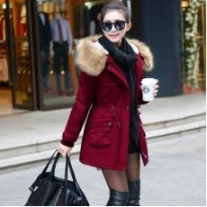 เสื้อโค้ทกันหนาว ดีไซน์แจ็คเก็ตมีฮู้ดขนเฟอร์ตัวยาวแฟชั่นเกาหลี นำเข้าไซส์Mถึง3XL สีแดง - พรีออเดอร์SJ1386 ราคา2990บาท