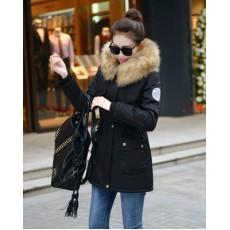 เสื้อโค้ทกันหนาว ดีไซน์แจ็คเก็ตมีฮู้ดขนเฟอร์ตัวยาวแฟชั่นเกาหลี นำเข้าไซส์Mถึง3XL สีดำ - พรีออเดอร์SJ1386 ราคา2990บาท