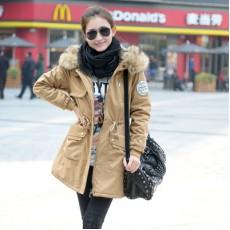 เสื้อโค้ทกันหนาว ดีไซน์แจ็คเก็ตมีฮู้ดขนเฟอร์ตัวยาวแฟชั่นเกาหลี นำเข้าไซส์Mถึง3XL สีกากี - พรีออเดอร์SJ1386 ราคา2990บาท
