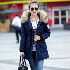 เสื้อโค้ทกันหนาว ดีไซน์แจ็คเก็ตมีฮู้ดขนเฟอร์ตัวยาวแฟชั่นเกาหลี นำเข้าไซส์Mถึง3XL สีน้ำเงิน - พรีออเดอร์SJ1386 ราคา2990บาท