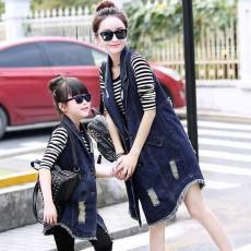 เสื้อโค้ทยีนส์ตัวยาวเด็กหญิง แขนกุดแบบเสื้อกั๊กแฟชั่นเกาหลีดีไซน์แจ็คเก็ต นำเข้า ไซส์110ถึง140 - พรีออเดอร์SJ1389 ราคา2400บาท