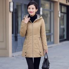 เสื้อโค้ทกันหนาว ดีไซน์แจ็คเก็ตมีฮู้ดตัวยาวแฟชั่นเกาหลี นำเข้าไซส์Mถึง4XL สีครีม - พรีออเดอร์SJ1390 ราคา2990บาท