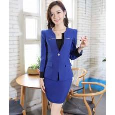ชุดสูท แฟชั่นเกาหลีผู้หญิงสวย2ชิ้นอินเทรนด์ใหม่ นำเข้า ไซส์Sถึง3XL สีน้ำเงิน - พรีออเดอร์SJ2014 ราคา3000บาท