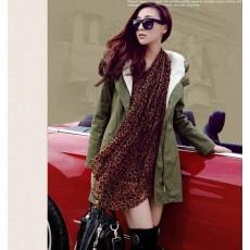 เสื้อโค้ท กันหนาวฮู้ดบุขนหนาแฟชั่นเกาหลีตัวยาวดีไซน์แจ็คเก็ต นำเข้าไซส์ XL สีเขียวกากี - พร้อมส่งSJ2027 ราคา1590บาท