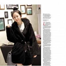 เสื้อโค้ทกันหนาวตัวยาวขนเฟอร์มีฮู้ดแฟชั่นเกาหลี ฟรีไซส์ สีดำ นำเข้า พร้อมส่งBC0052 ราคา1190บาท