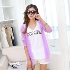 เสื้อคลุมแฟชั่นเกาหลีคาร์ดิแกนน่ารักบางสบายฟรีไซส์นำเข้าสีม่วง - พร้อมส่งBC0053 ราคา220บาท
