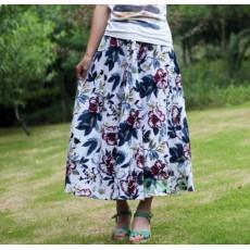 กระโปรงยาว แฟชั่นเกาหลีผ้าคอตตอนลินินแนววินเทจเอวยืดมีกระเป๋า นำเข้า ลายดอกไม้สีขาว พร้อมส่งBD0124 ราคา1150บาท