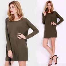 เสื้อยืดแขนยาวตัวหลวมแบบมินิเดรสแฟชั่นเกาหลีผู้หญิง นำเข้า สีเขียวกากี พร้อมส่งBL0129 ราคา550บาท