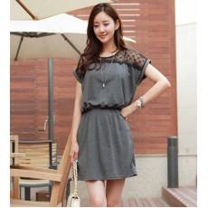 ชุดแซก แฟชั่นเกาหลี เดรสสวยชุดทำงานแต่งลูกไม้หรู นำเข้า ฟรีไซส์ สีเทา - พร้อมส่งTJ7084 ราคาลดเหลือ399