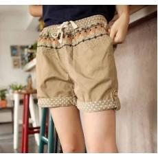 กางเกงขาสั้นแฟชั่น สไตล์เกาหลีมีกระเป๋าข้างใส่สบาย นำเข้า สีน้ำตาล - พร้อมส่งTJ7104 ราคา450บาท