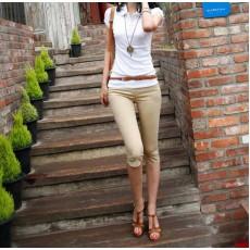 กางเกงเลคกิ้ง แฟชั่นเกาหลีขาสามส่วนเอวสูงสวยใส่สบาย นำเข้า สีกากี - พร้อมส่งTJ7189 ราคา670บาท