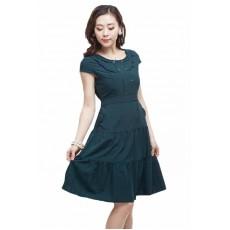 ชุดแซก ผ้าคอตตอนผสมใส่สบายทรงสวยผูกโบว์หลังน่ารัก นำเข้า size L สีเขียว - พร้อมส่งTJ7214 ราคา1150บาท