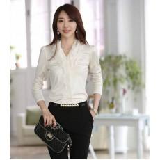 เสื้อเชิ้ตผู้หญิง แฟชั่นเกาหลีแต่งชีฟองระบายสวยหรูหรา นำเข้า ไซส์XL สีขาว - พร้อมส่งTJ7218 ราคา990บาท [หมดค่ะ]
