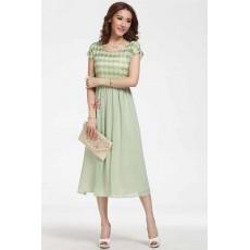 ชุดยาว แฟชั่นเกาหลีสวยผ้าชีฟองนิตติ้งสวยออกงานหรูมาก นำเข้า ไซส์M สีเขียว - พร้อมส่งTJ7224 ราคา1350บาท [หมดค่ะ]