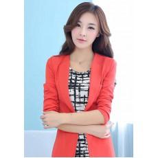 เสื้อสูท แฟชั่นเกาหลีทรงสวยหรูมากกระดุม1เม็ด นำเข้า ไซส์XL สีส้ม - พร้อมส่งTJ7235 ราคา1100บาท