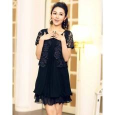 ชุดลูกไม้ แฟชั่นเกาหลีชีฟองพลีทสวยชุดราตรีหรูมาก นำเข้า ไซส์ XL สีดำ - พร้อมส่งTJ7238 ราคา1450บาท [หมดค่ะ]
