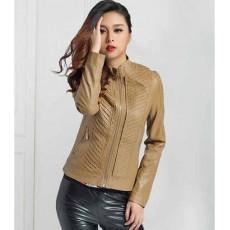 เสื้อแจ็คเก็ตหนัง แฟชั่นเกาหลีแขนยาวเสื้อคลุมสวยซิปหน้า นำเข้า สีกากี - พร้อมส่งTJ7239 ราคา1550บาท
