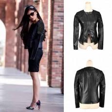 เสื้อแจ็คเก็ตหนัง แฟชั่นเกาหลีเสื้อคลุมหนังแต่งลูกไม้สวยหรูมาก นำเข้า สีดำ - พร้อมส่งTJ7240 ลดราคา800บาท