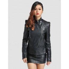 เสื้อแจ็คเก็ต แฟชั่นเกาหลีเสื้อคลุมหนังคอเต่าสวยหรูมาก นำเข้า สีดำ - พร้อมส่งTJ7241 ราคา1550บาท